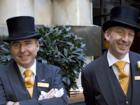 Doormen at the famed Savoy Hotel in the center of London.