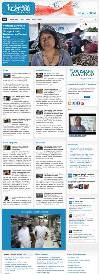Screenshot of the Louisiana Seafood Newsroom